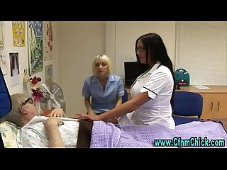 Slutty cfnm nurse with big tits