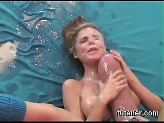 Horny chicks ream the biggest strapon dildos and spray charge all around the place