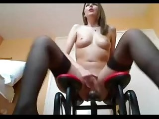 Ashley Rides Sex Machine Rubs Clit And Squirts - DamnCam.net